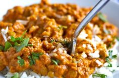 Apr 2017 - Red curry lentils is my all-time favorite lentil recipe. Plus it's healthy and easy! Red Curry Lentils, Lentil Curry, Red Curry Recipe, Vegan Curry, Dessert Recipes, Desserts, Fried Rice, Vegan Recipes, Healthy Eating