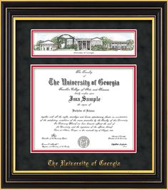 UGA. Diploma Frame - Satin Black - Campus Collage - Black Suede on Red – Professional Framing Company