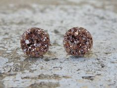 Earrings Druzy Stud Earrings 10MM Boho Jewelry True Rose Gold earrings druzy earrings faux druzy boho jewelry silver jewelry bridal earrings bridesmaid earrings stud earrings metallic jewelry gifts under 10 Southern Stitches Co Rose Gold Rose Gold Druzy 7.00 USD #goriani