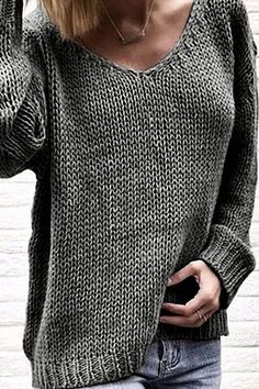 Baycheer / Casual Warm Long Sleeve V-Neck Plain Chunky Knit Oversize Pullover Sweater Top for Girls Loose Knit Sweaters, Casual Sweaters, Pullover Sweaters, Summer Sweaters, Cardigans, Girls Sweaters, Men Sweater, Oversized Pullover, Pullover Outfit
