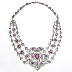 Antique Silver Topped Gold Necklace with Diamonds and Rubies #diamond necklace #necklace #antique