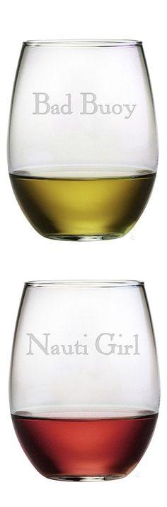 Bad Bouy & Nauti Girl // haha! Nautical stemless wine glass set