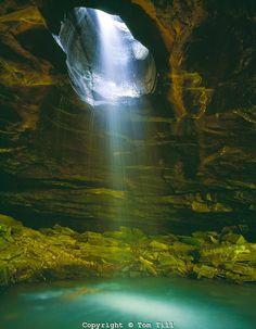 Waterfall through natural bridge - Buffalo National River, Arkansas