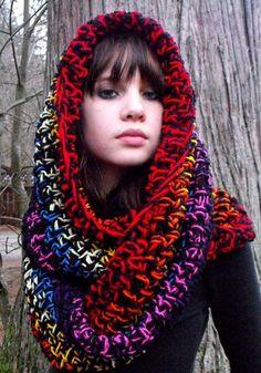 Cowl neck Hood eternity scarf Vegan Wear A Rainbow It will make you Happy