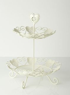 BHS Heart 2 Tier Cake Stand in white