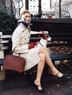 nothing says classy like a headscarf, trench, and high heels