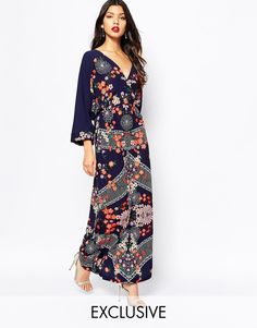Image 1 ofLiquorish Kimono Sleeve Maxi Dress in Japanese Garden Print