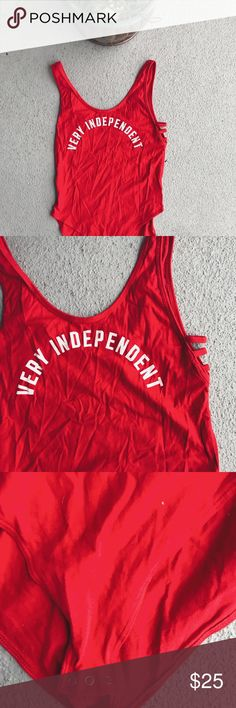 Very independent bodysuit from VS pink NWOT Very independent bodysuit from VS pink NWOT perfect for the holidays and the 4th of July! Size large PINK Tops Tank Tops