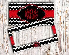 Cute license plate or frame - Black and white chevron bright red monogram - Car accessory - Monogrammed car tag - Bicycle accessories (1001) by ToGildTheLily on Etsy https://www.etsy.com/listing/161745231/cute-license-plate-or-frame-black-and