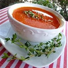 Roasted red peppers are pureed with cannellini beans, sauteed onions, and garlic in this chicken broth based soup.