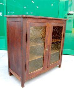 Piccola vetrina in faggio 2 ante a vetri decorati metà '900