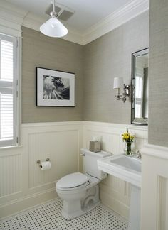 "Grasscloth walls and white - nice bright look! But I really don't like the floor tiles - they make it look too much like a public ""rest room""... For some definite opinions on good color combinations, come on over to www.bathroom-paint.net/bathroom-paint-color.php"