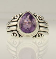 Sterling Silver 11x9 mm Amethyst Ring -Handmade One of a Kind Artisan Jewelry Made in The USA with Free Domestic Shipping!Denim and Diamonds Jewelry