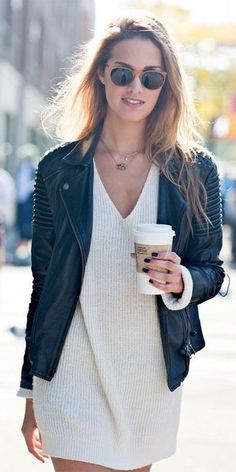 Sweater Dress + Leather Jacket