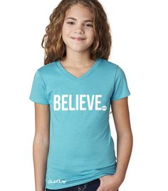 """Youth """"BELIEVE"""" Sporty V-Neck Tee (Teal)"""