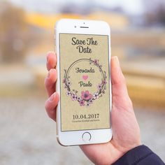 Convite digital celular whatsapp casamento rústico floral.