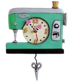 Allen Designs Back Stitch Sewing Machine Wall Clock w/Swinging Scissors Pendulum 773822045794 Sewing Crafts, Sewing Projects, Sewing Ideas, Sewing Tips, Quilting Projects, Clock Art, Wall Clocks, Diy Clock, Pendulum Wall Clock
