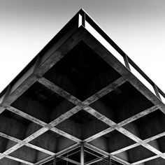 1968: A detail of Mies van der Rohe's Neue Nationalgalerie in Berlin, photographed by Christian Rudat