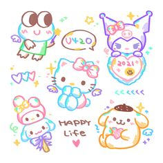Kawaii Drawings, Cute Drawings, Pretty Art, Cute Art, Hello Kitty Imagenes, Kawaii Tattoo, Hello Kitty My Melody, Sanrio Wallpaper, Japon Illustration