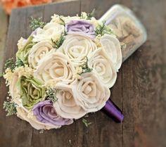 Handmade Natural Alternative Wedding Bouquet - Ivory Green Lavender Bridal Bridesmaid Bouquet, Sola Flower Bouquet, Keepsake Bouquet