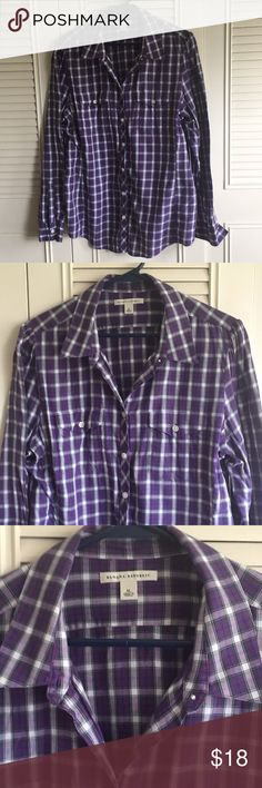 Banana Republic Plaid Shirt, Sz XL Banana Republic plaid button down shirt, size XL. Purple and white. Only worn a few times and in excellent condition. No longer fits and just trying to make room in my closet. Banana Republic Tops Button Down Shirts