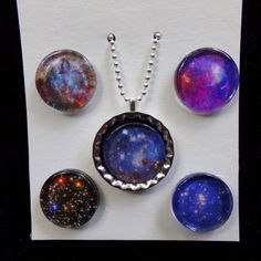"""Nebula space images for magnetic bottlecap pendant with 5 inserts, 20"""" ball chain by calicosophie on Etsy"""