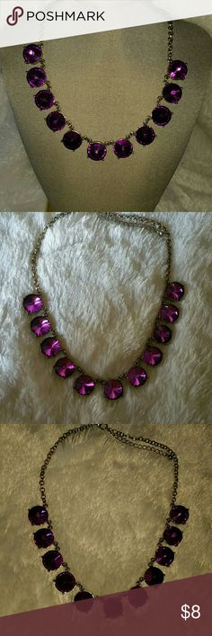 "Purple Statement Necklace Previously owned ,stunning purple stones ,silver tone chain. Adjustable chain, total length is 20"" unbranded  Jewelry Necklaces"
