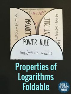 Properties of Logs Foldable: Power Rule, Product Rule, Quotient Rule. Expanding and Condensing Logs are Included.