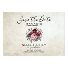 Vintage Rustic Red Roses Flower Wedding Save Date Card - invitations custom unique diy personalize occasions