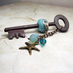 Handmade Ocean Lampwork Bead on Vintage Skeleton Key