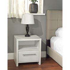 @Overstock.com - White Night Stand - Complement your bedroom decor with this white night stand. This elegant stand features generous open shelf space, roomy drawer, and a contemporary design. Constructed from engineered wood, this compact stand is both practical and versatile.   http://www.overstock.com/Home-Garden/White-Night-Stand/7213624/product.html?CID=214117 $90.99