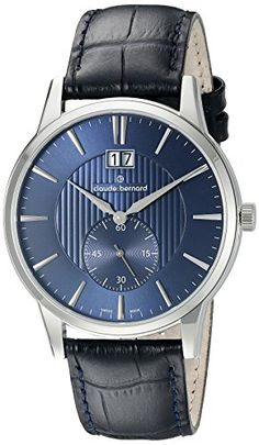 Men's Wrist Watches - Claude Bernard Mens 64005 3 BUIN Classic Big Date Small Second Analog Display Swiss Quartz Black Watch *** Check this awesome product by going to the link at the image. (This is an Amazon affiliate link)