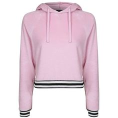 Women's Topshop Stripe Edge Velour Hoodie (145 PEN) ❤ liked on Polyvore featuring tops, hoodies, jackets, sweatshirts, camisolas, pink multi, pink top, pink velour hoodie, striped tops and pink hooded sweatshirt