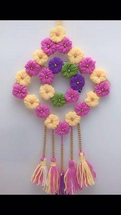 Diy Crafts For Home Decor, Diy Crafts Hacks, Diy Crafts For Gifts, Diy Arts And Crafts, Pom Pom Crafts, Rope Crafts, Yarn Crafts, Diy Wall Art, Wall Hanging Crafts