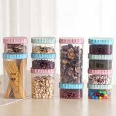3 Color Wheat Campanulaceae Square Food Storage Box Kitchen Transparent Snack Seal Tank Grains Food Grains Tank #Affiliate