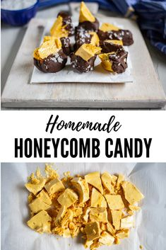 An easy recipe for homemade honeycomb candy: chewy, crunchy, airy, caramel-like honeycomb pieces dipped in chocolate and topped with sea salt flakes. Honeycomb Recipe, Honeycomb Candy, Köstliche Desserts, Delicious Desserts, Dessert Recipes, Awesome Desserts, Candy Recipes, Sweet Recipes, Cake Pops