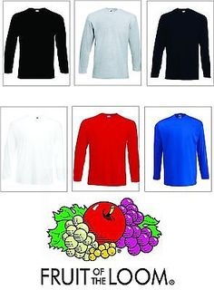Men's Fruit of the Loom Long Sleeve T Shirt Plain Tee Shirt Top Cotton **XS-2XL*