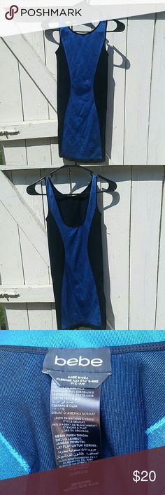 NWOT Bebe Bodycon Dress Nautical blue/black bodycon dress from Bebe. Never been worn. Brand-new. bebe Dresses Mini