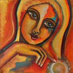 Ein Lichter Moment Acryl auf Leinwand  Eine Frau findet eine Sternschnuppe von Jeanett Rotter