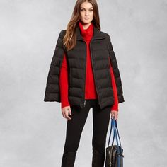 DKNY Puffer Cape Super warm and extremely chic puffer cape. Minimum 80% Down filling. Zips all the way up. Great for the winter. Excellent condition. Worn once, and received ton of complements. Sorry no trades. DKNY Jackets & Coats Capes