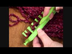 ▶ Shawl (Triangle Shawl) on the green long loom - YouTube (Uses 3 Skeins (4 Skeins if adding fringe) of Loops and Threads Country Loom #6 Extra Bulky yarn from Michael's.)
