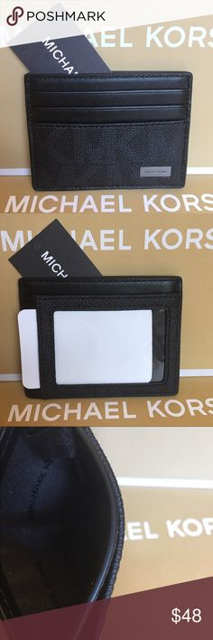 MICHAEL KORS NEW MENS CARD & CASH WALLET AUTH MICHAEL KORS NEW WITH TAGS NEVER USED MENS WALLET 100% AUTHENTIC. VERY STYLISH AND HIGH END. PERFECT FOR THE FASHION SAVVY MAN. THIS HREAT WALLET HAS 3 CARD SLOTS ON ONE SIDE AND A BIG SLOT AND IDENTIFICATION  HOLDER ON THE OTHER SIDE. THE MIDDLE HAS A GREAT  FOLDED PAPER MONEY SECTION. IT MEASURES OVER 4 INCHES WIDE BY 3.25 INCHES TALL. THE COLOR IS BLACK MONOGRAM Michael Kors Bags Wallets