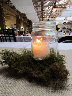 Moss around mason jar with candle inside adds a nice touch! @ Khimaira Farm outdoor barn wedding venue Shenandoah Valley Blue Ridge Mountains Luray VA