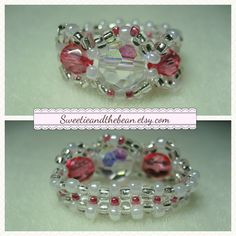 Pink and Pearl Swarovski beaded ring by Sweetie & The Bean