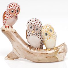 Herend Three Owls on a Branch (Assorted Colors) | Herend Figurines | Collectibles | ScullyandScully.com