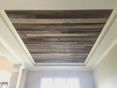 It was a long hot day installing our barn wood skins onto this tray ceiling but it turned out amazing!  We love doing ceilings, it's such a great accent to add to the space with all the beautiful tones and textures.  #barnwood #reclaimedbarnwood #reclaimedwood #franklintn #handmade