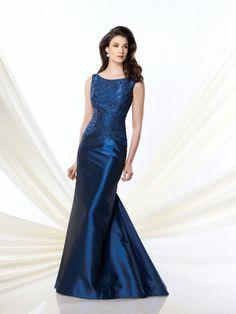 Fashion Bateau Neck Blue Satin Mother Of The Bride Dress B2mc0099