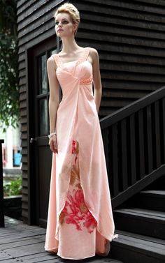 New Pink Cocktail Prom Chiffon One Shoulder Beading Formal Long Evening Gowns