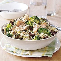 Tuna and Couscous Salad | MyRecipes.com.  I make this salad often and change it up by omitting the tuna and adding grilled chicken, shrimp or leaving without a meat and adding extra veggies.  To add an extra kick sprinkle with crumbled Feta or Parmesan cheese.