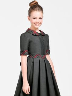 Girls Teen Formal Short Sleeve Dark Gray Dress - Casual Official - Belt Cuffs and Collar with Plaid Patches - Pleated Hem African Dresses For Kids, Little Girl Dresses, Girls Dresses, Dinner Outfits, Kids Outfits, Toddler Dress, Baby Dress, Girl Dress Patterns, Kind Mode